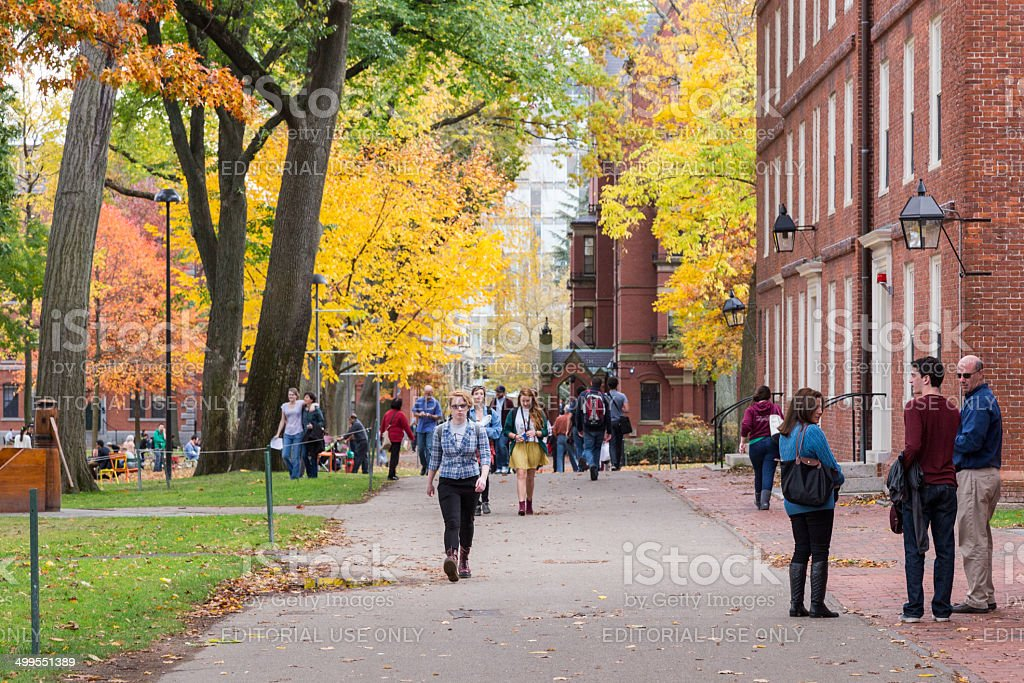 Harvard campus with brilliant fall foliage stock photo