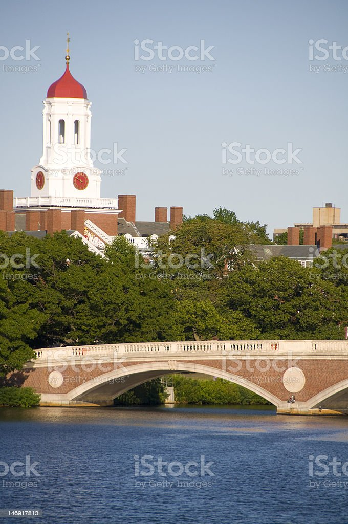 Harvard University and the Charles River royalty-free stock photo