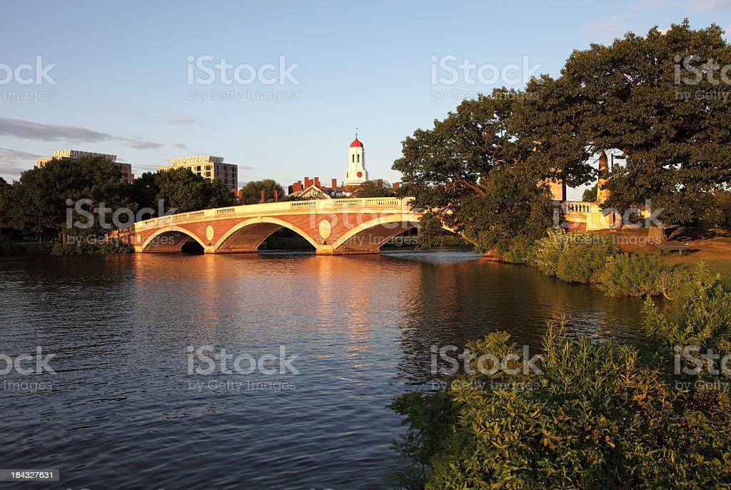 Harvard University and the Charles River stock photo