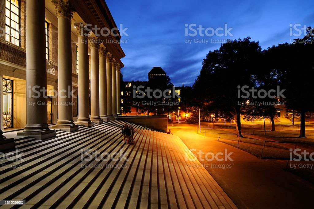Harvard University at Night stock photo