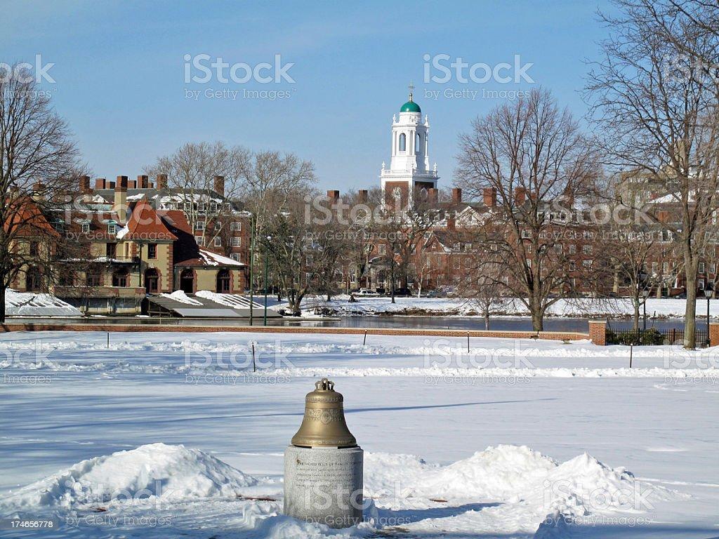 Harvard University in Winter royalty-free stock photo