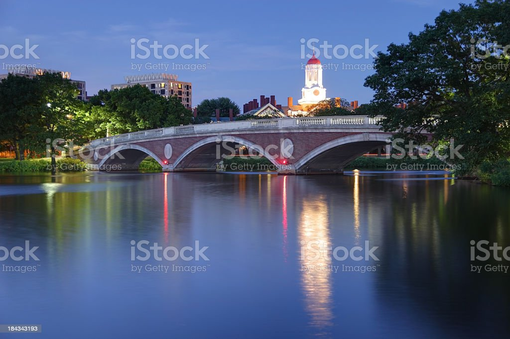 Harvard University Reflecting on the Charles River stock photo