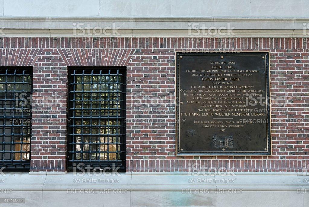 Harvard University Tablet, Cambrigde, MA stock photo