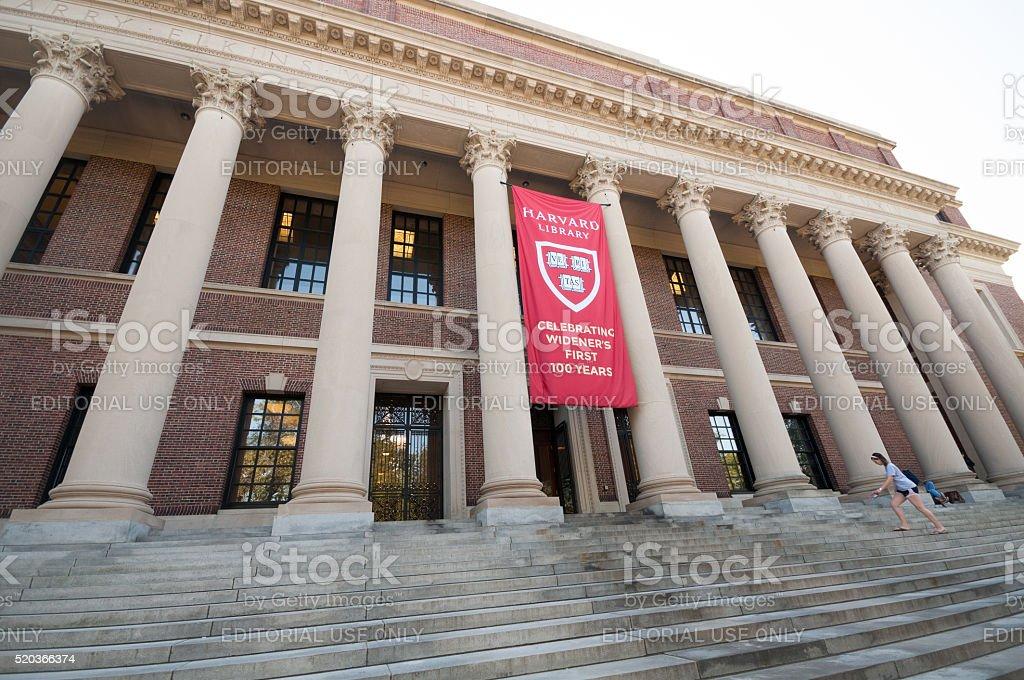 Harvard Widener Library stock photo