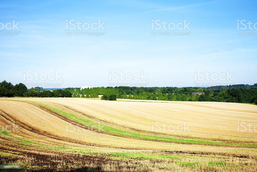 Harvesed field and airport Essen-M?lheim stock photo