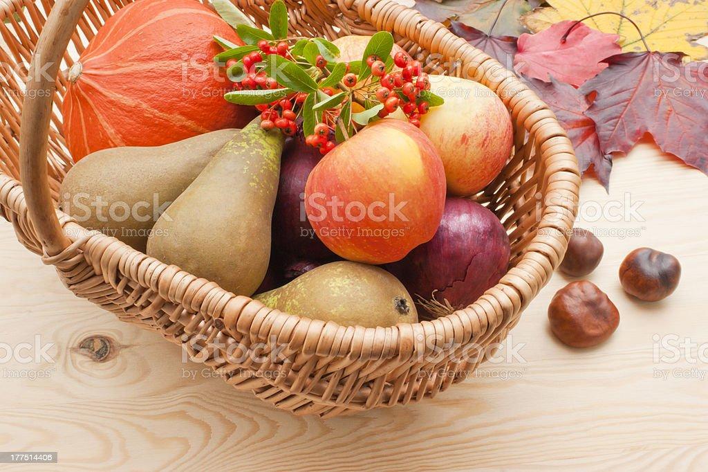 Harvest festival basket stock photo