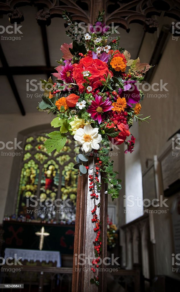 Harvest festival flowers in a church royalty-free stock photo