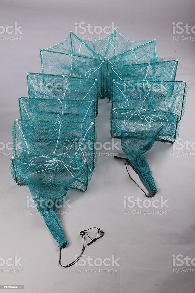 Harvest gear of rectangular fish cage for fishing tackle on stock photo