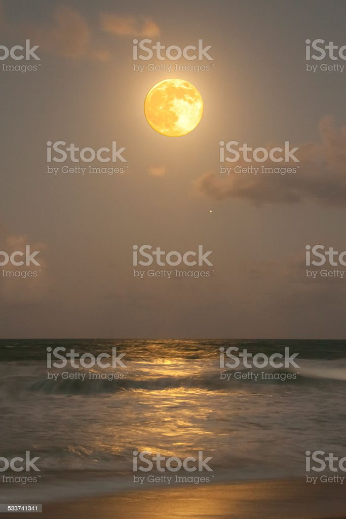 Harvest Moon and Jupiter, too stock photo