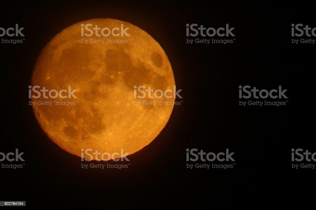 Harvest moon on dark sky background stock photo