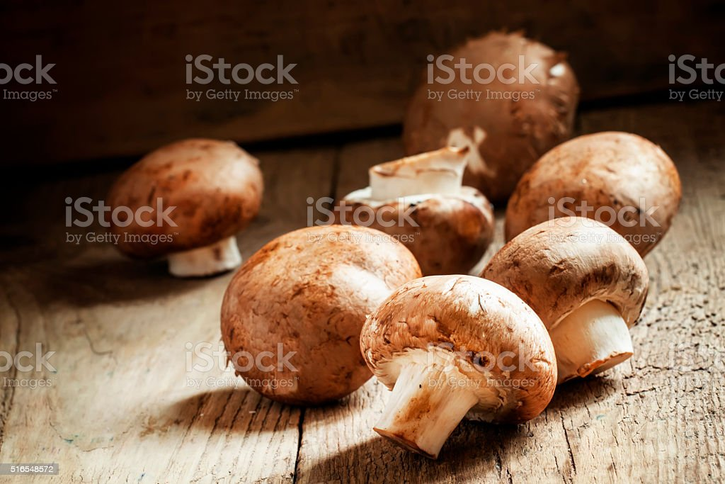 Harvest of mushrooms, old wooden table, country style stock photo
