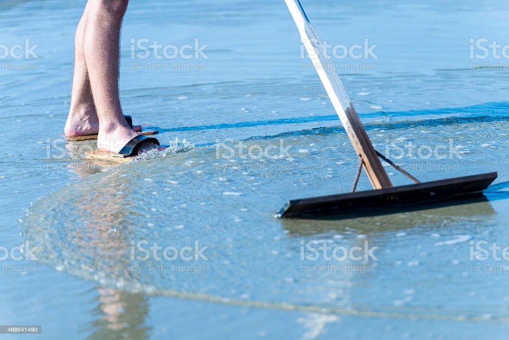 Harvesting Salt stock photo