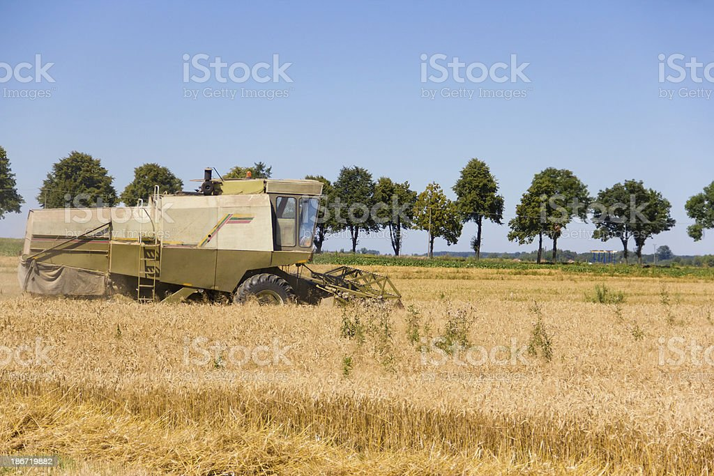 harvesting tractor royalty-free stock photo