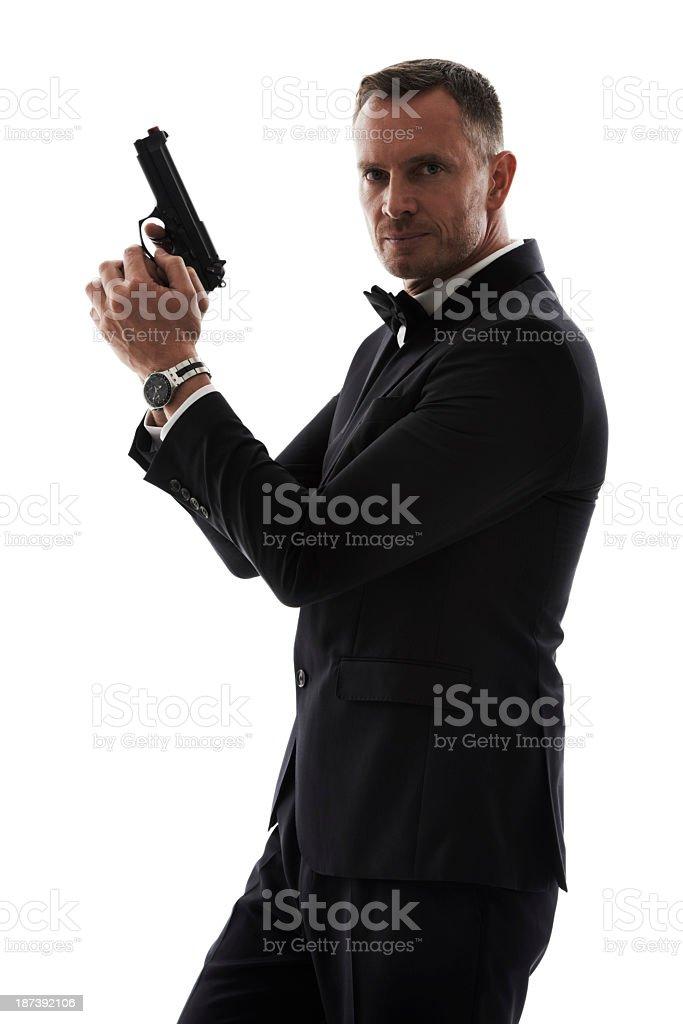 007 has nothing on him! stock photo