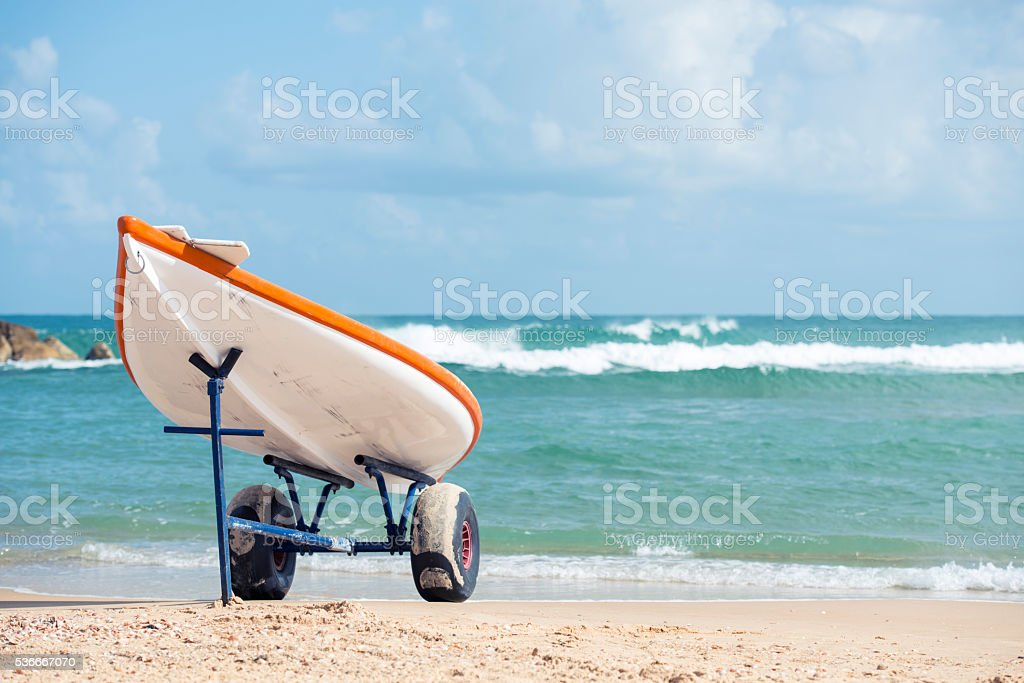 Hasake rescue board-boat parked on the beach. stock photo