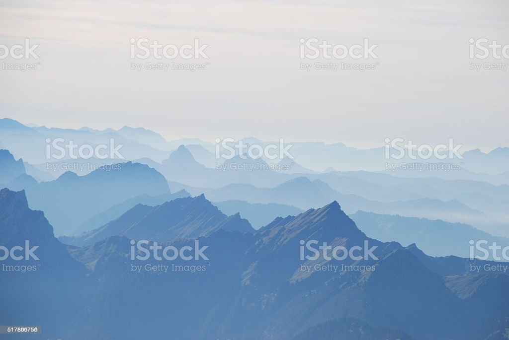 Hase and panoramic view Swiss alps stock photo