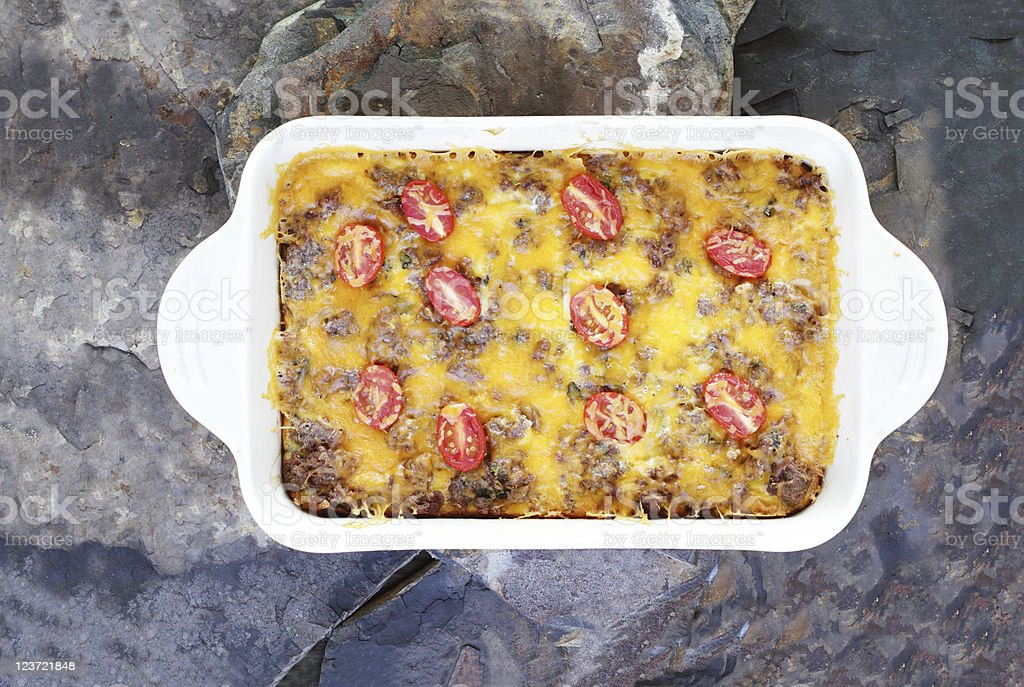 Hash Brown Strata or Breakfast Casserole stock photo