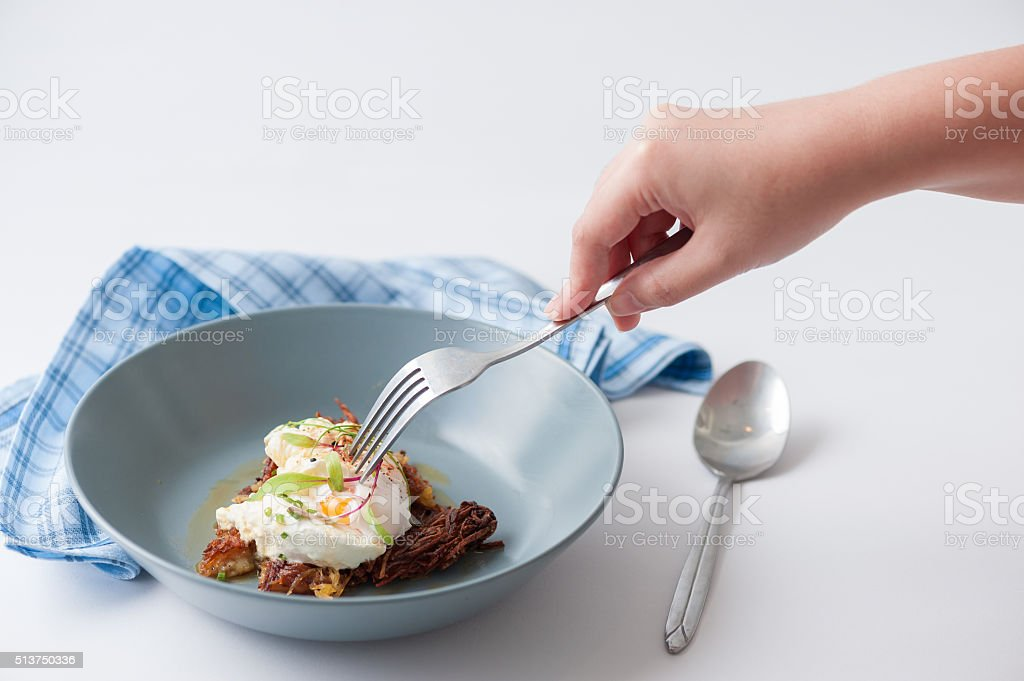 Hash brown with cheese stock photo