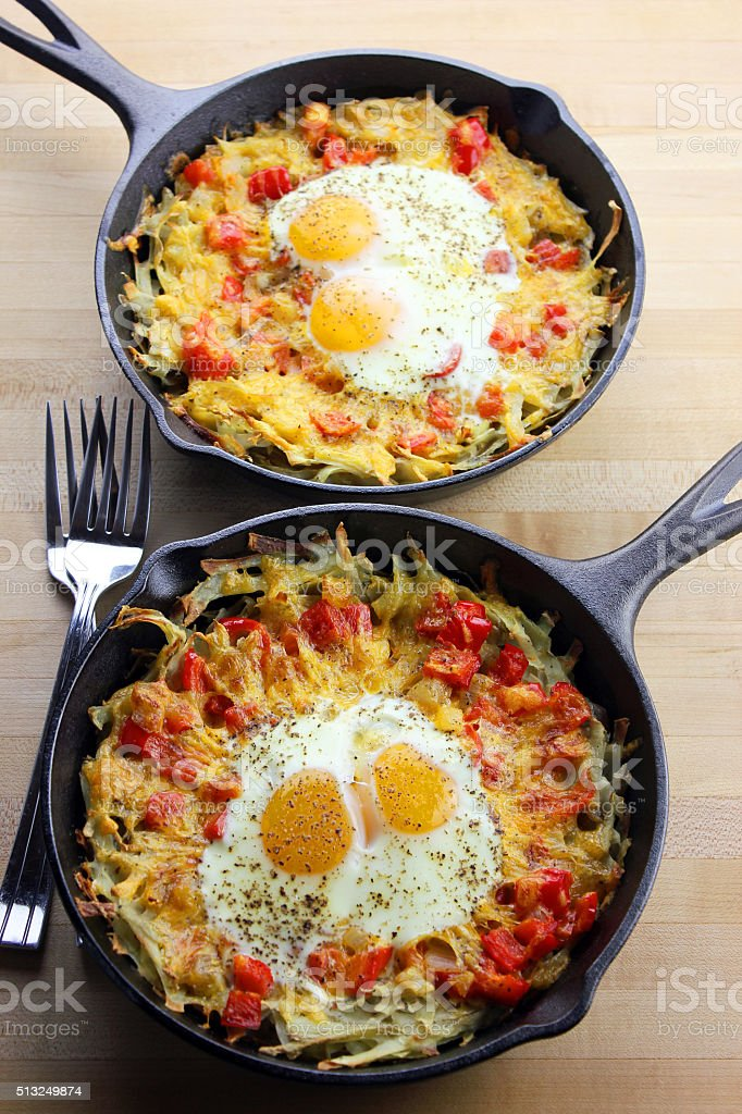 Hash Browns and Eggs stock photo