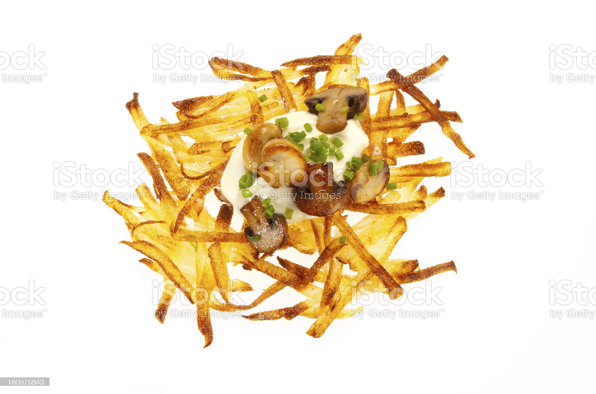 Hash browns with sour cream and mushrooms royalty-free stock photo