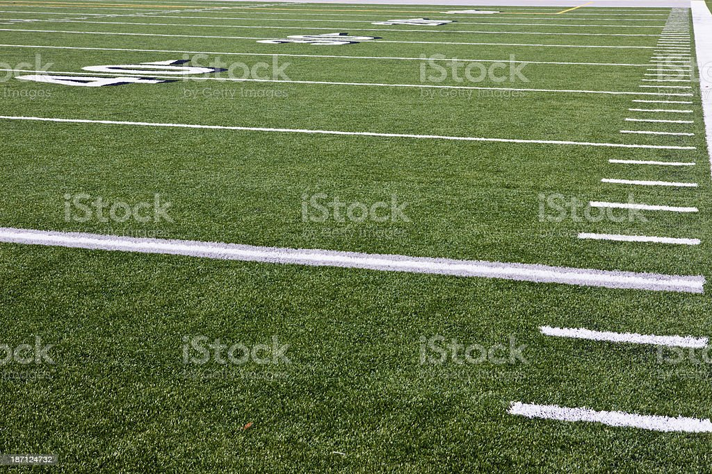 Hash Marks on Football Field stock photo