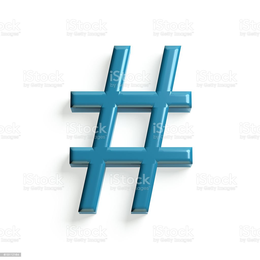 Hash Tag and Number Symbol. 3d Render Illustration stock photo