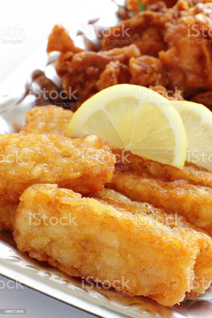 hashed brown and fried chicken stock photo