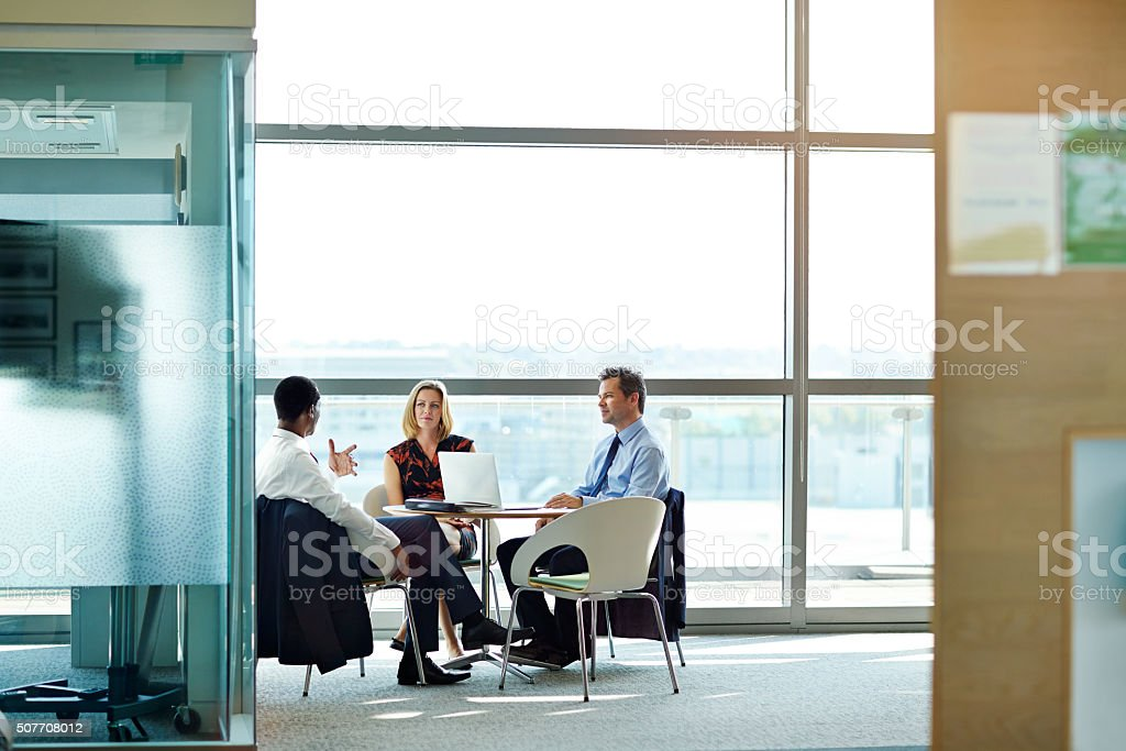 Hashing out ideas as a team stock photo