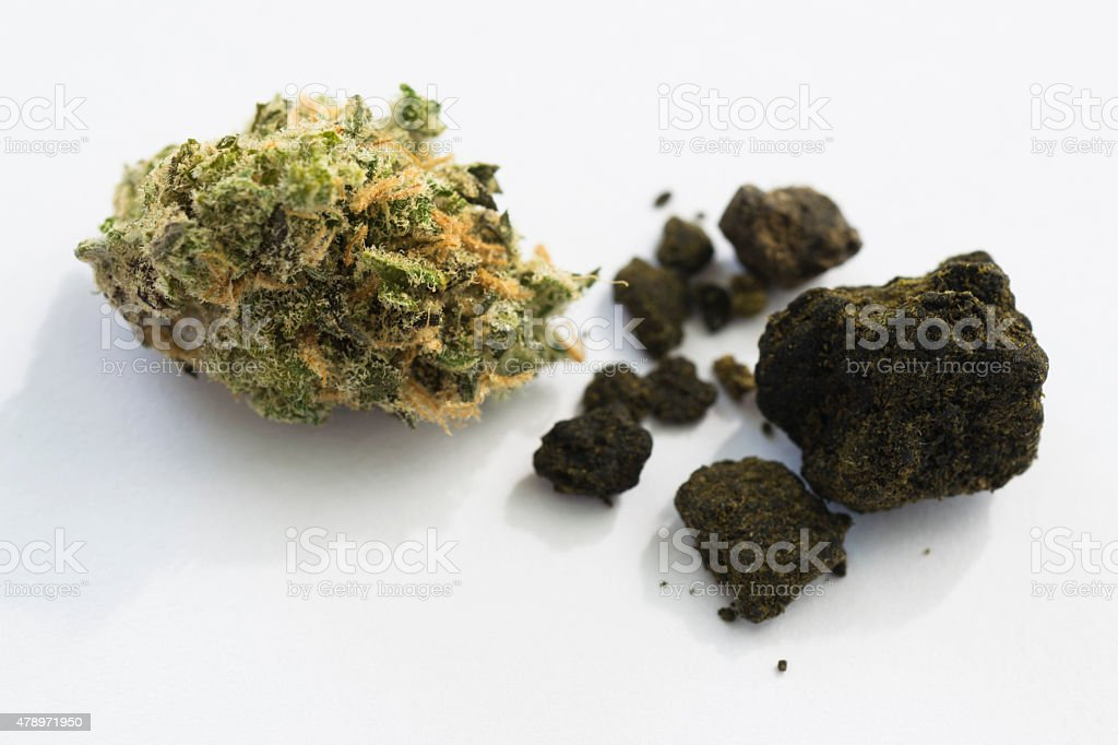hashish pieces with marijuana bud on white background stock photo