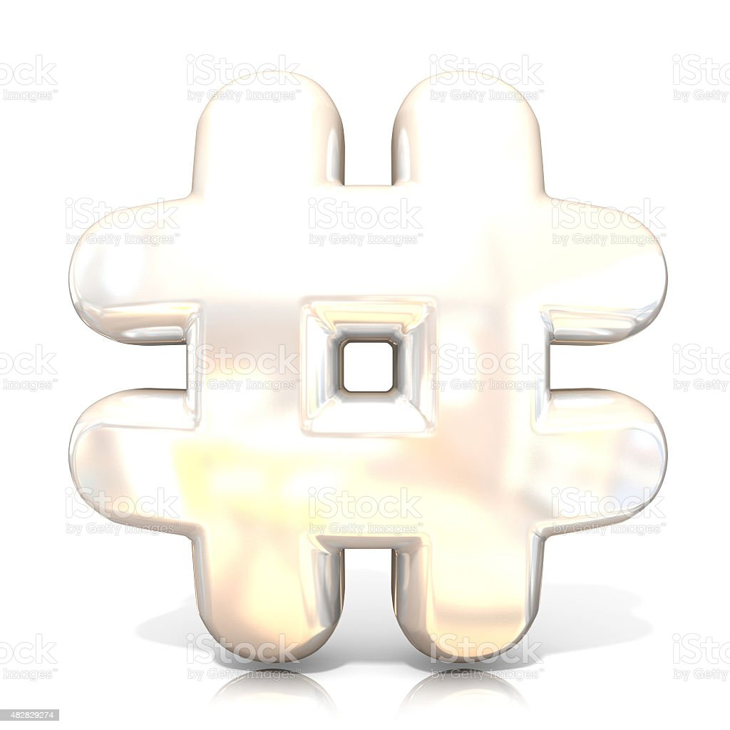 Hashtag, number mark 3D white sign. Front view stock photo