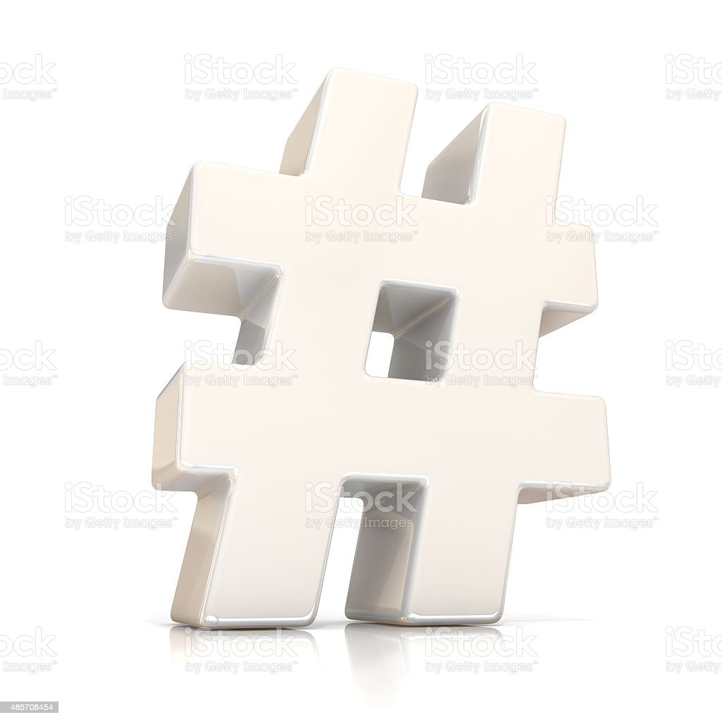 Hashtag, number mark 3D white sign stock photo