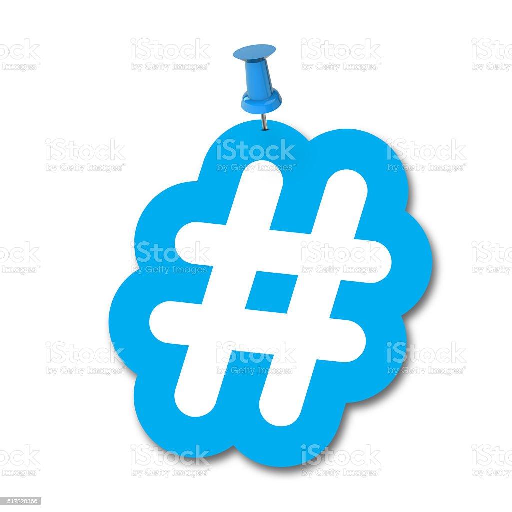 Hashtag pinned to a plain white background stock photo