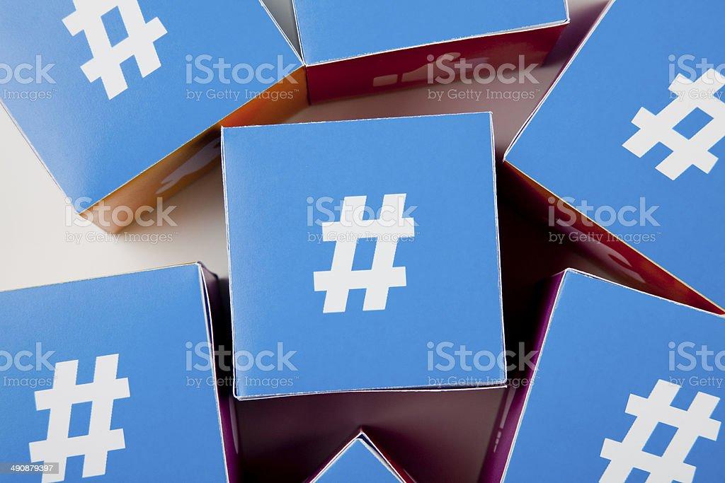 Hashtag social media cubes royalty-free stock photo