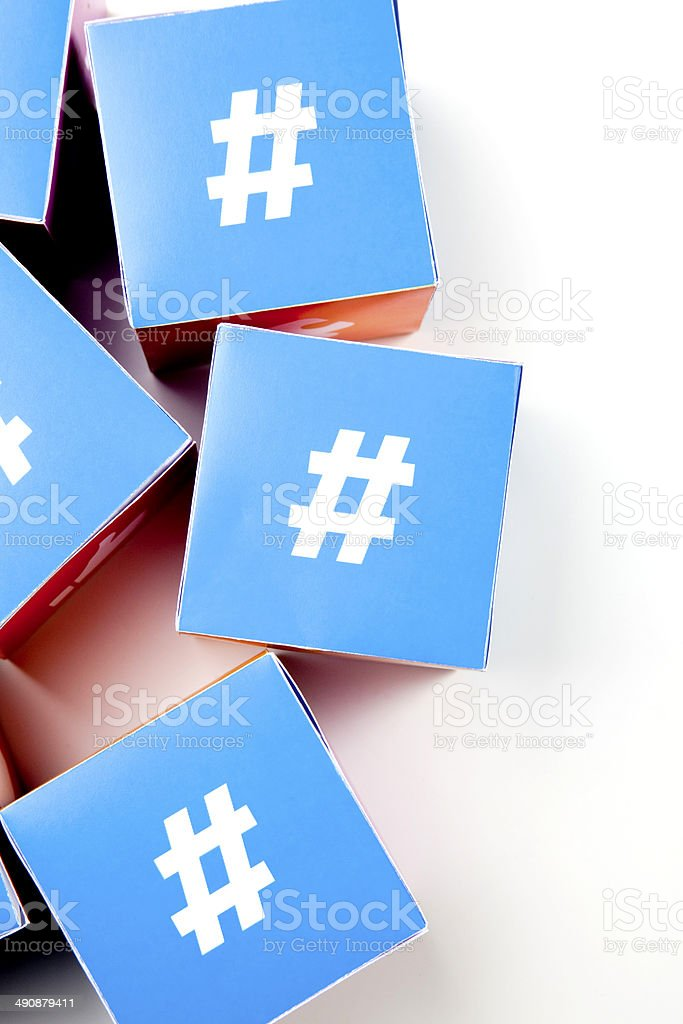 Hashtag social media cubes stock photo