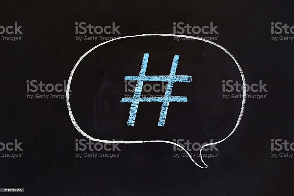 Hashtag Speech Bubble stock photo