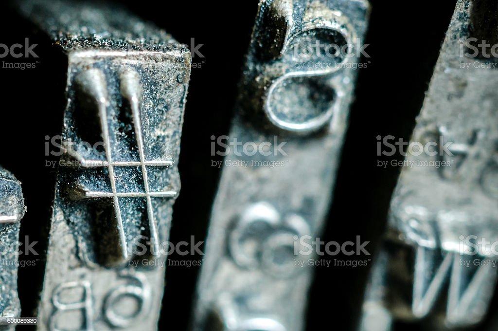 Hashtag symbol of an old typewriter typebars stock photo