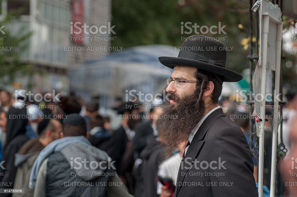 Hasid with the beard, side curls and hat stock photo