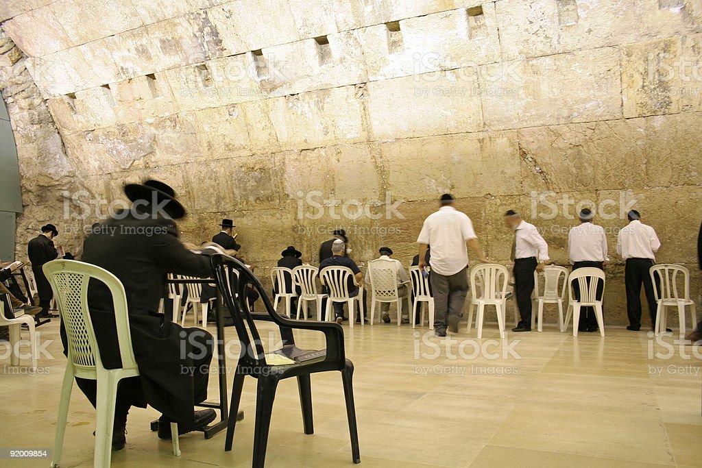 Hasidic jews at the wailing western wall royalty-free stock photo