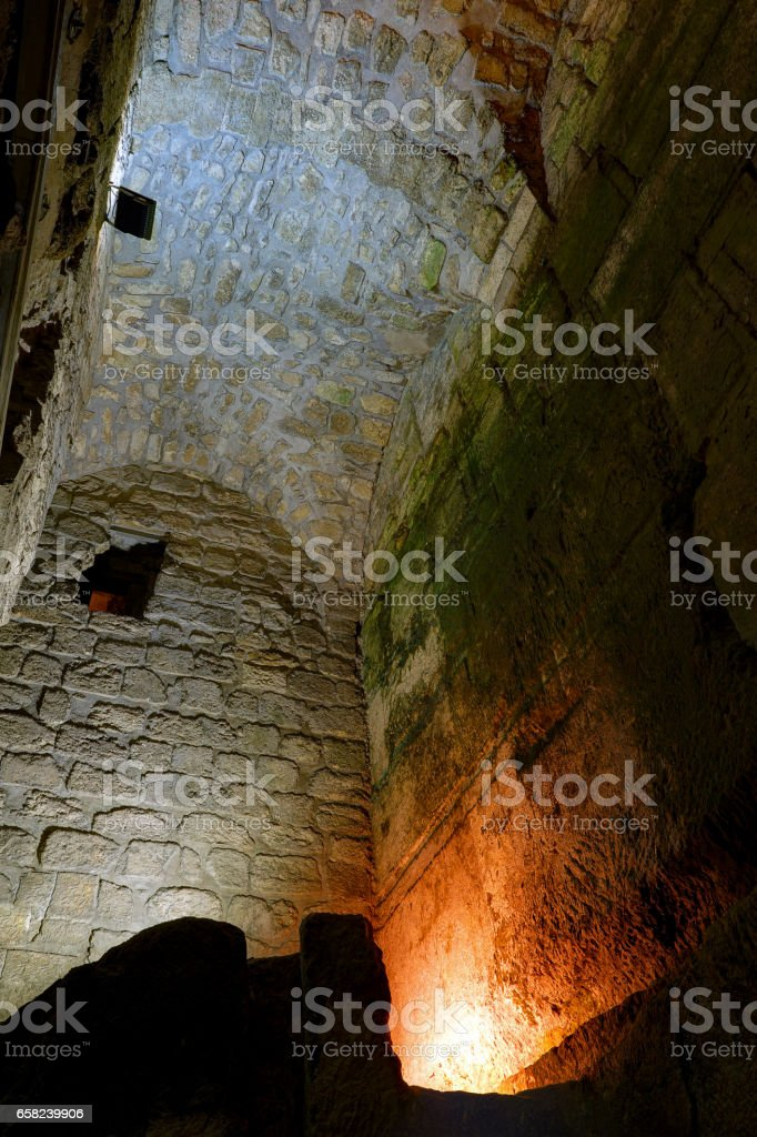 Hasmonean Aqueduct and Water Cistern at Kotel Tunels. Old City of Jerusalem stock photo