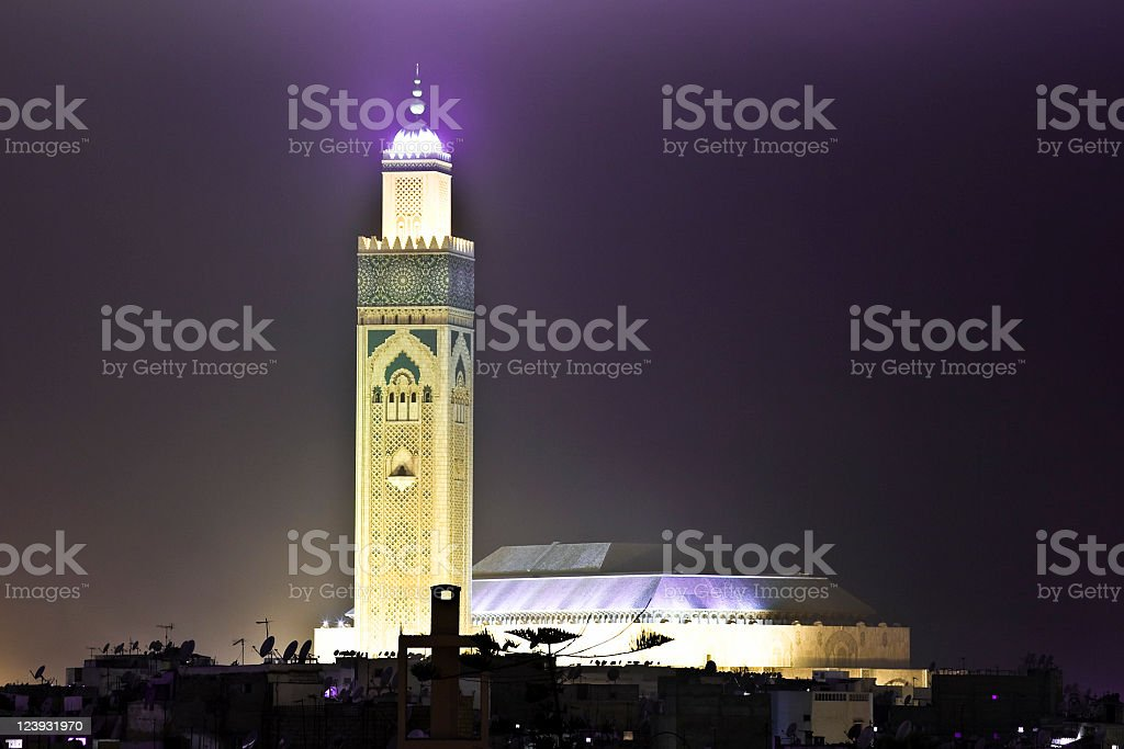 Hassan II Casablanca Mosque By Night stock photo