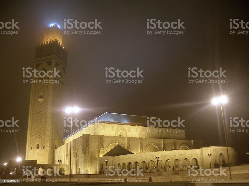 Hassan II Mosque at night in the fog, Casablanca, Morocco stock photo