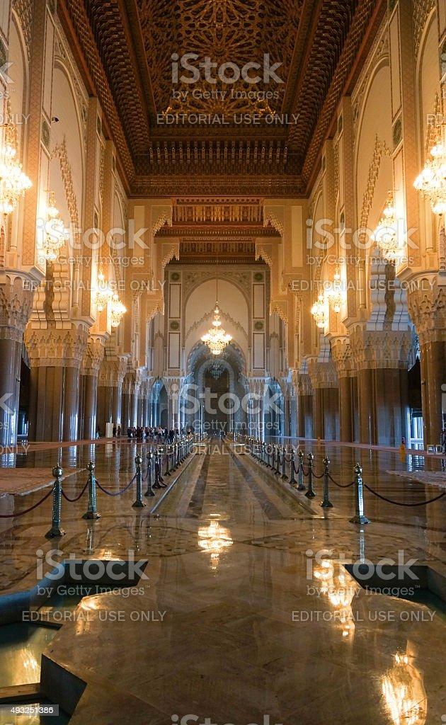 Hassan II Mosque interior corridor with columns in Casablanca. stock photo
