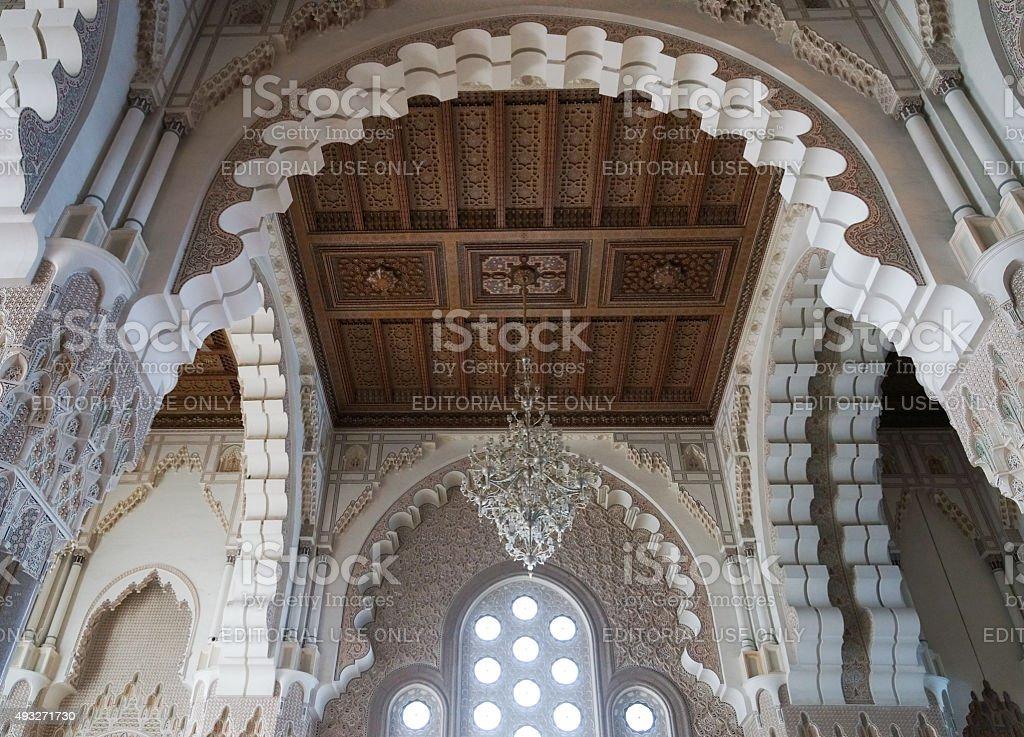 Hassan II Mosque interior vault in Casablanca Morocco. stock photo