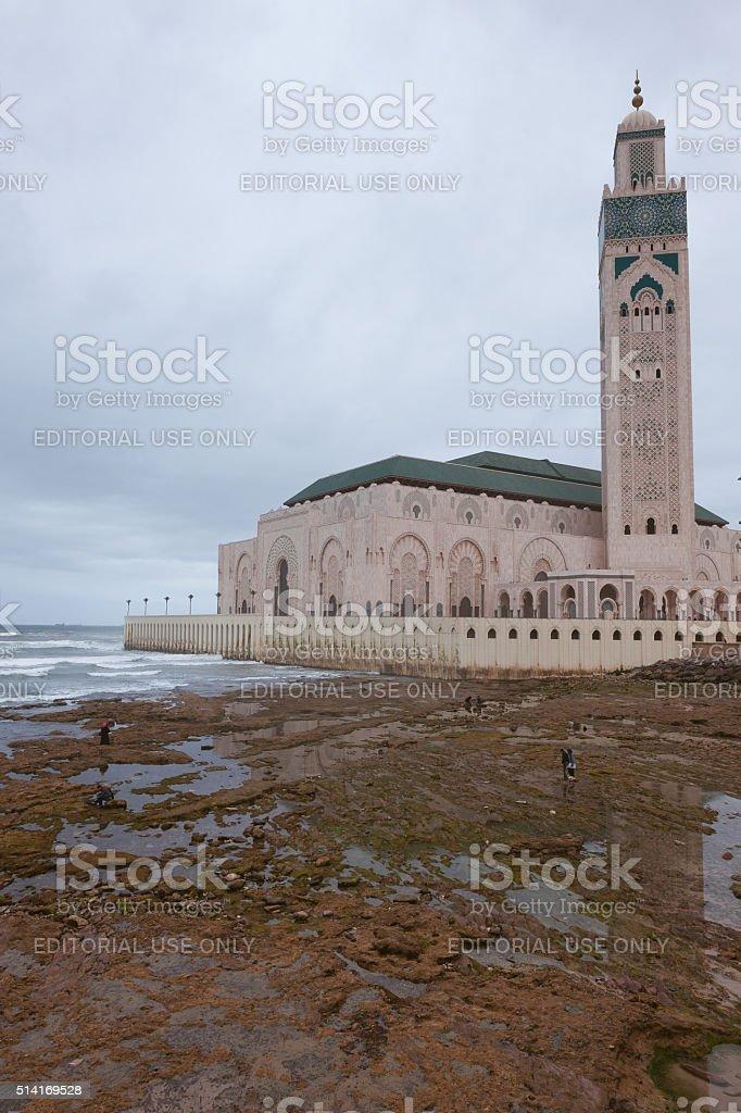 Hassan II Mosque with Minaret, Casablanca, Morocco, atlantic, North Africa stock photo