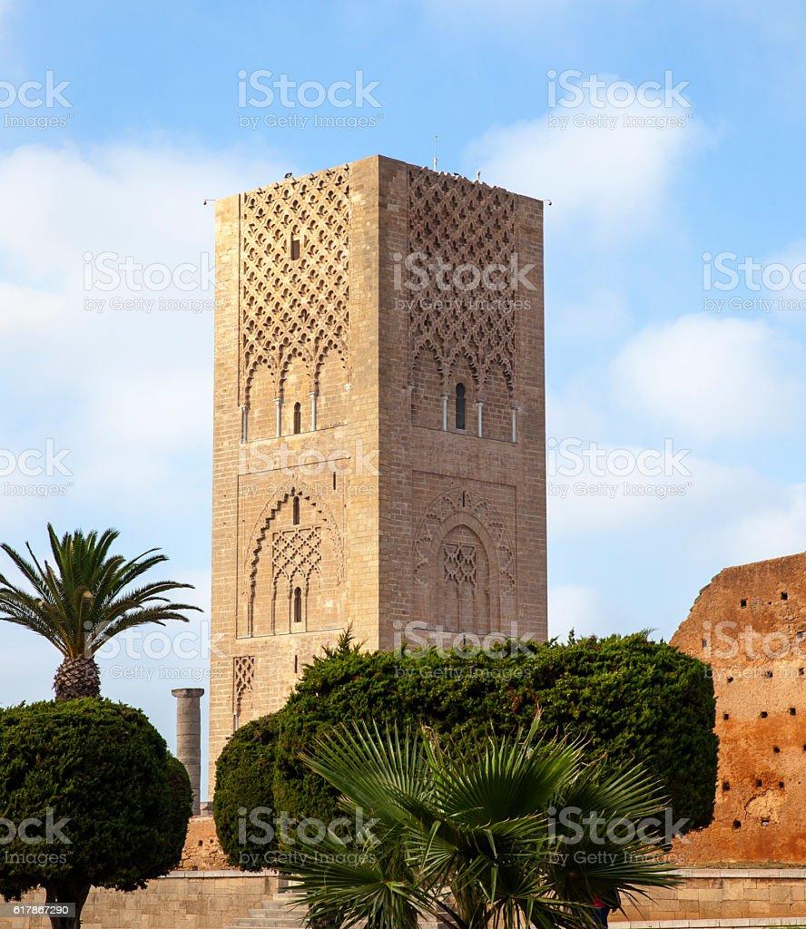 Hassan Tower Rabat stock photo