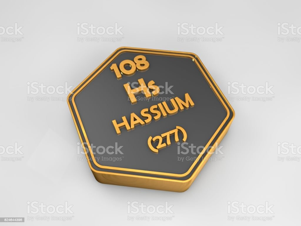 Hassium - Hs - chemical element periodic table hexagonal shape 3d render stock photo