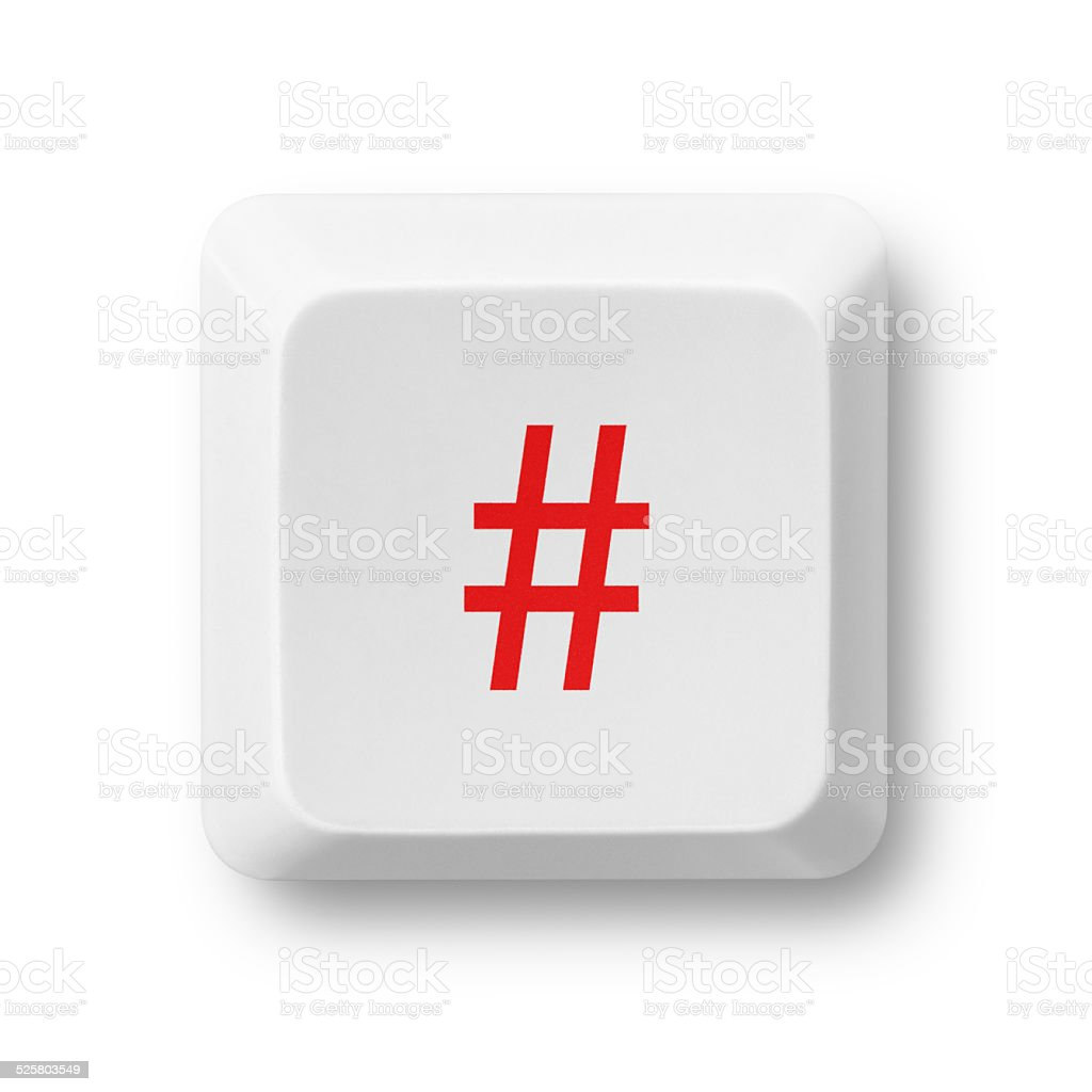 Hastag computer key isolated on white stock photo