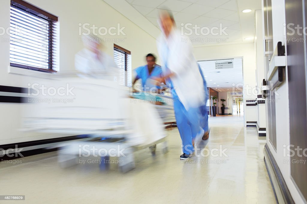 Hastening to save a life stock photo