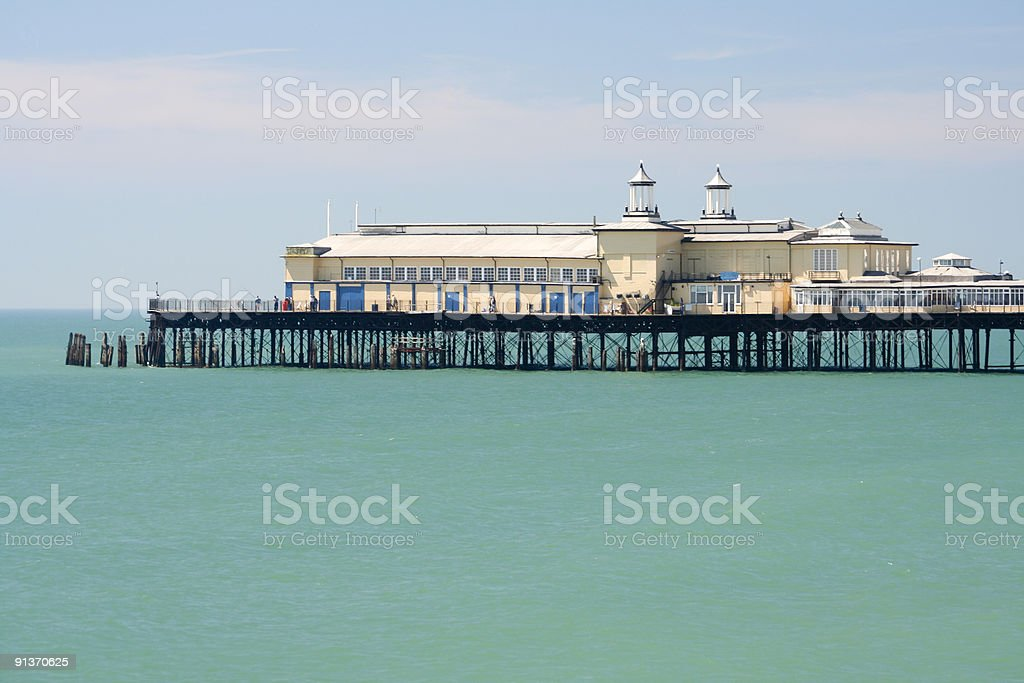 Hastings pier in East Sussex, England stock photo