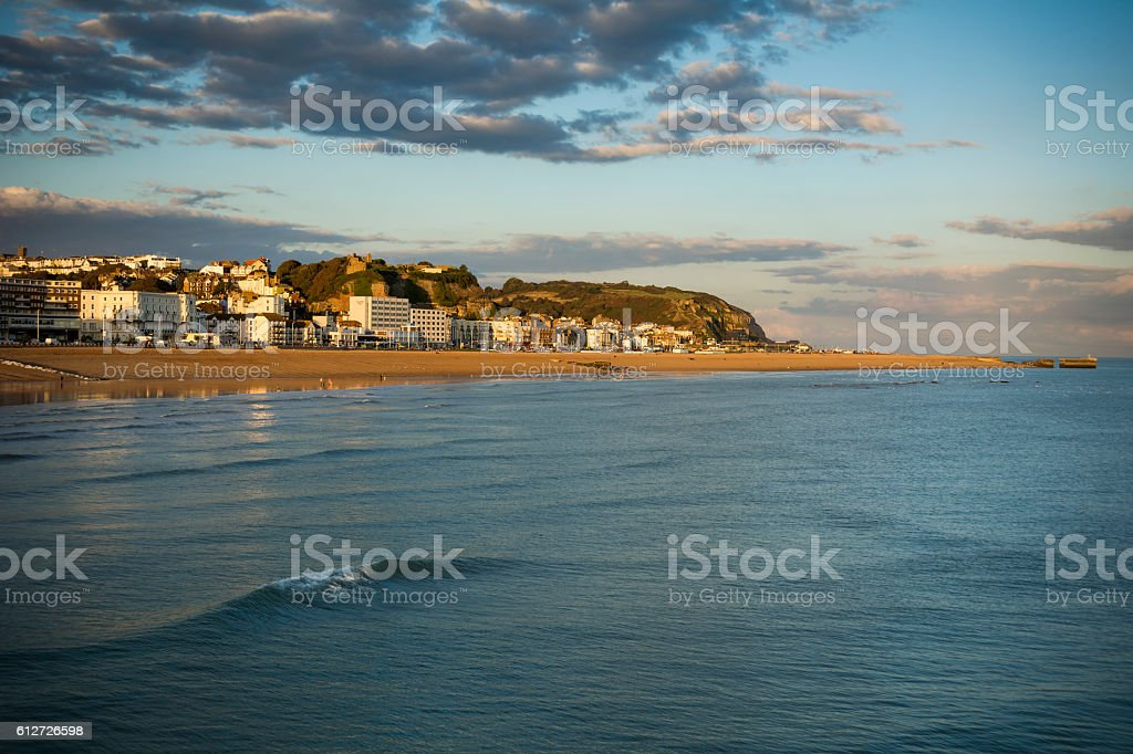 Hastings seafront in early evening sunshine stock photo